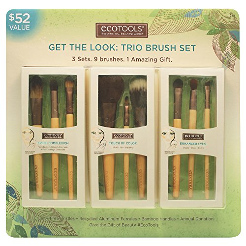 Ecotools - Ecotools Cruelty Free and Eco Friendly Get the Look Trio Brush Set; Three Sets, Nine Brushes, One Amazing Gift; With Fresh Complexion Set, Touch of Color Set, and Enhanced Eye Set