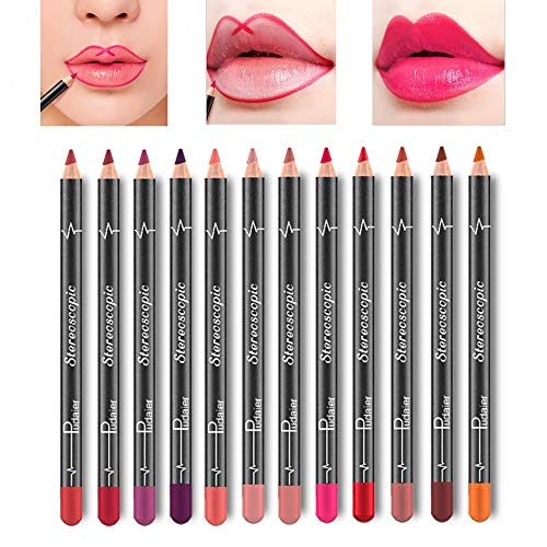 Foxcesd - Lip Liner Pencil Set - 12 Colors Waterproof Smudge Proof Matte Velvet Long Lasting Lip Liners Makeup Lipsticks