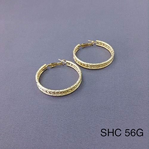 Ladies Luxury - Hypo Allergenic 14K Yellow Gold Plated Rough Circle 1.5 Hoop Earrings SHC 56G
