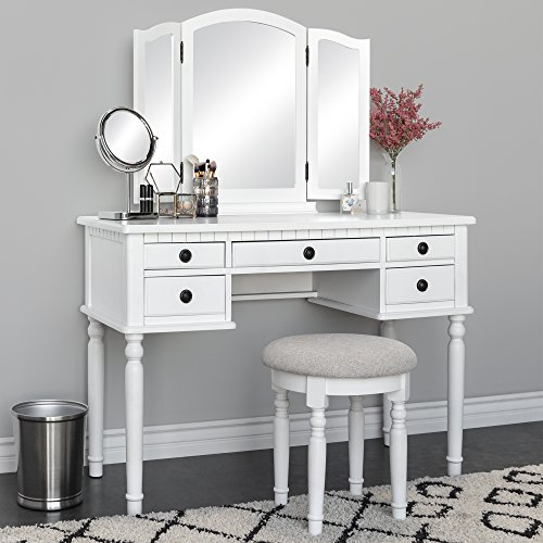 Best Choice Products - Best Choice Products Bedroom Makeup Cosmetic Beauty Vanity Hair Dressing Table Set w/Tri-Folding Mirror, Upholstered Stool Seat, 5 Drawer Storage Organizers - White