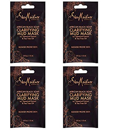 Sheamoisture - SheaMoisture African Black Soap Clarifying Mud Mask with Tamarind Extract & Tea Tree Oil 0.5 oz (4 Pack)