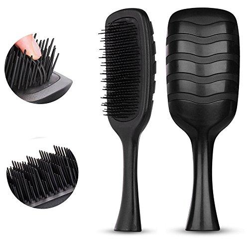 HeyBeauty - Hair Brush, Detangling Hair Comb for Men&Women, Anti-Static Bristles-Professional Styling Tool for Dry or Wet Hair, Tangle Tamer Brush for Natural,Synthetic Hair, Ripple Black by HeyBeauty