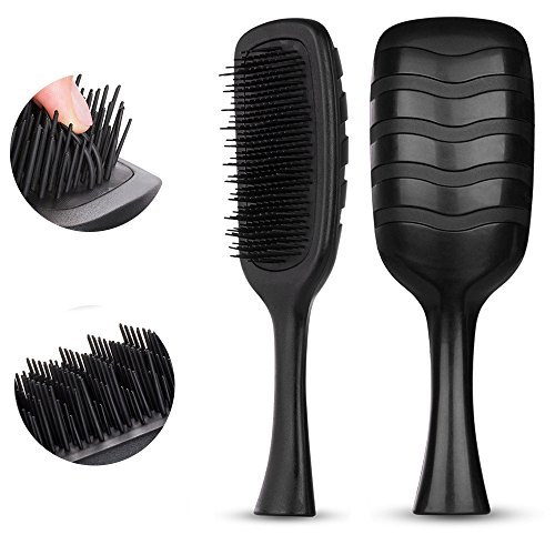 HeyBeauty - Hair Brush, Detangling Hair Comb for Men&Women, Anti-Static Bristles-Professional Styling Tool for Dry or Wet Hair, Tangle Tamer Brush for Natural,Synthetic Hair, Ripple Black by HeyBeauty