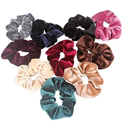 Jaciya - Jaciya 10 Pack Hair Elastics Scrunchies Velvet Scrunchy Bobbles Soft Elegant Elastic Hair Bands Hair Ties, 10 Colors (10 Pack)