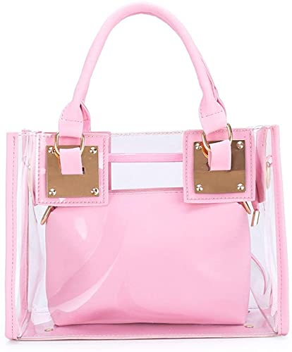 AlwaySky Women Transparent Shoulder Crossbody Bag, 2 in 1 Designer Fashion Handbag Purse