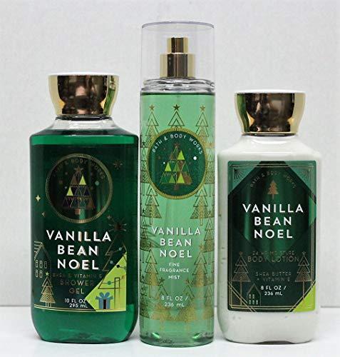 Bath & Body Works - Bath and Body Works Vanilla Bean Noel Shower Gel, Body Lotion, Fine Fragrance Mist Daily Trio Gift Set 2018