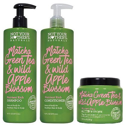 Not Your Mothers - Not Your Mothers Naturals Matcha Green Tea & Wild Apple Blossom Nutrient Rich Shampoo, Conditioner & Butter Masque, Set of 3