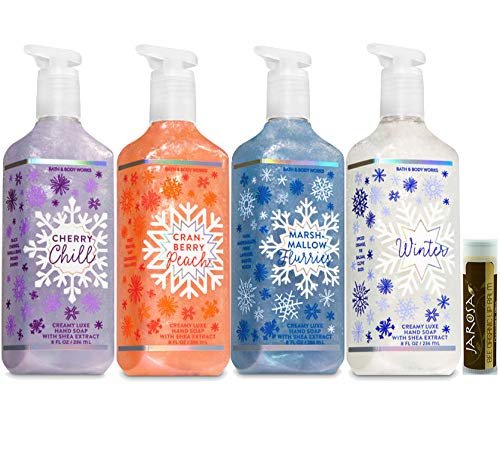 Bath & Body Works - Bath & Body Works CHERRY CHILL, CRANBERRY PEACH, MARSHMALLOW FLURRIES & WINTER Creamy Luxe Hand Soap Set of 4 with a Jarosa Bee Organic Chocolate Bliss Lip Balm