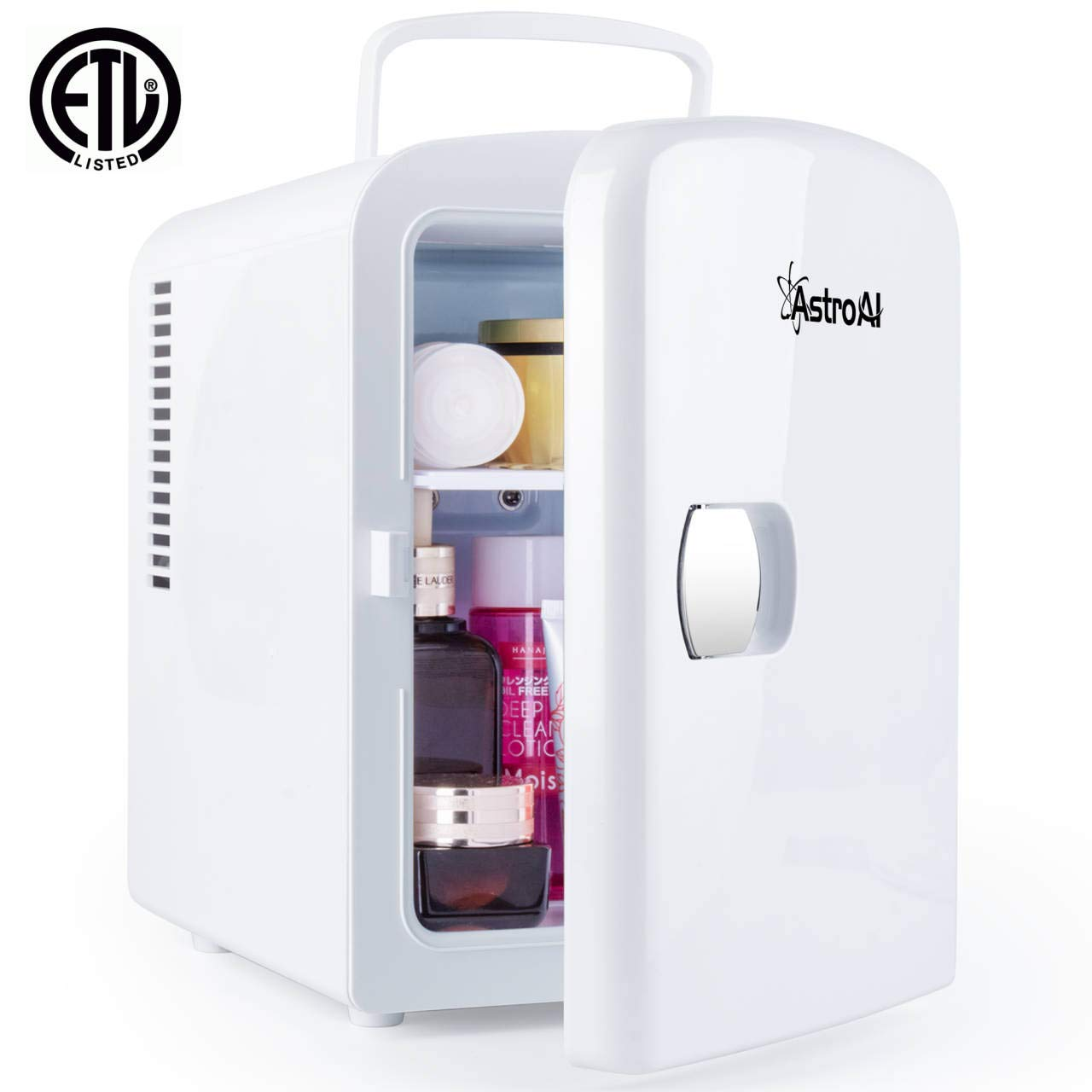 AstroAI - AstroAI Mini Fridge 4 Liter/6 Can AC/DC Portable Thermoelectric Cooler and Warmer for Skincare, Breast Milk, Foods, Medications, Bedroom and Travel (White)