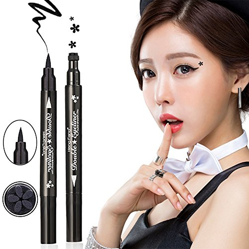 HuntGold - HuntGold HengFang Cool Black Dual-ended Waterproof Liquid Eyeliner Pen with Flower Shape Tattoo Stamp Seal Cosmetic Tool