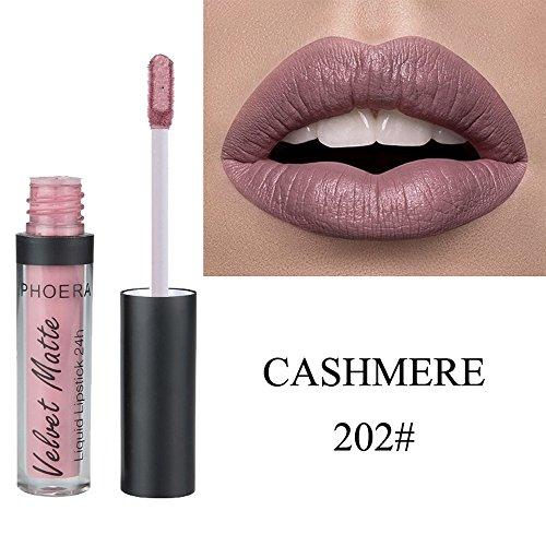 💗 Orcbee 💗 _Health and Beauty - Orcbee  _PHOERA Velvet Matte to Glitter Liquid Lipstick Waterproof Lip Gloss Makeup (B)
