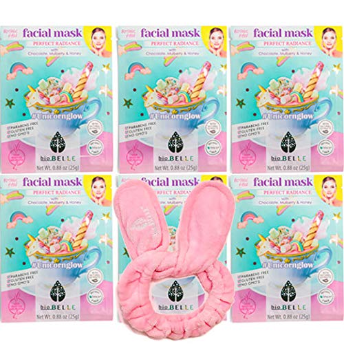 BIOBELLE - Sheet Masks - Skin Care Face Mask K Beauty -Korean Skin Care with Bonus Headband -Collagen Essence for Sensitive Skin (Unicorn 6 Pack)