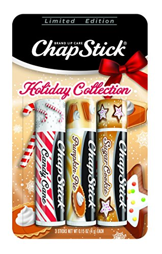 Chapstick - ChapStick Holiday Limited Edition Seasonal Flavored Lip Balm Tube, 0.15 Ounce Each (Candy Cane, Pumpkin Pie & Sugar Cookie Flavors, 1 Blister Pack of 3 Sticks)