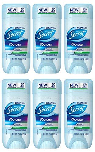 Secret - Secret Outlast Unscented Women's Clear Gel Antiperspirant & Deodorant 2.6 Ounce (Pack Of 6)