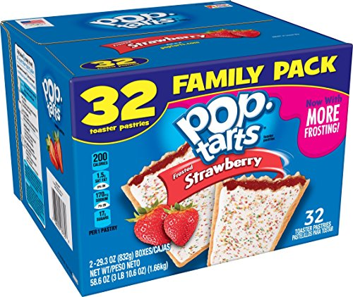 Pop-Tarts - Pop-Tarts BreakfastToaster Pastries, Frosted Strawberry Flavored, Family Pack, 58.6 oz (32 Count)