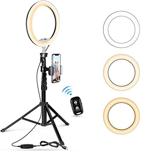 """UBeesize 10.2"""" Selfie Ring Light with Tripod Stand & Cell Phone Holder for Live Stream/Makeup, UBeesize Mini Led Camera Ringlight for YouTube Video/Photography Compatible with All Phones (Black)"""