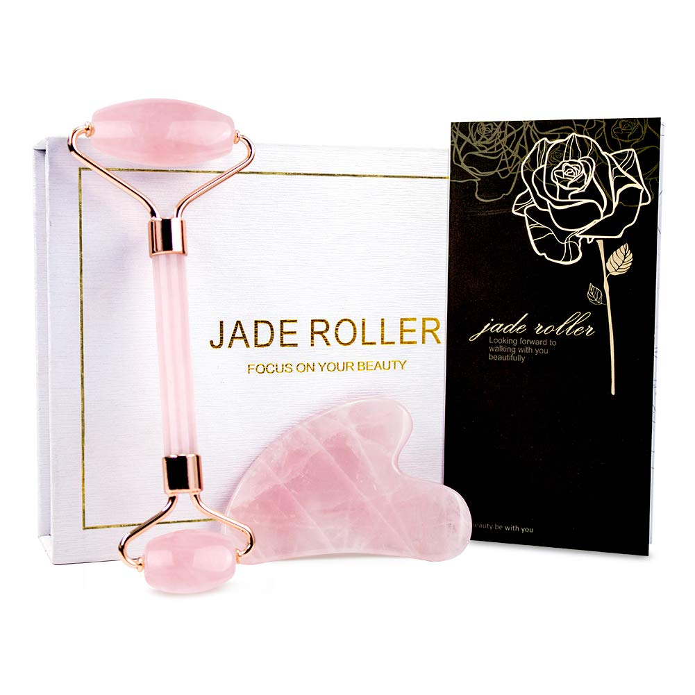 amazon.com - Jade Roller & Gua Sha, Face Roller, Facial Beauty Roller Skin Care Tools, BAIMEI Rose Quartz Massager for Face, Eyes, Neck, Body Muscle Relaxing and Relieve Fine Lines and Wrinkles