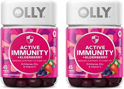 Olly Gummy - Olly Gummy Active Immunity+Elderberry, 45 Gummies (2 Pack), Berry Flavor