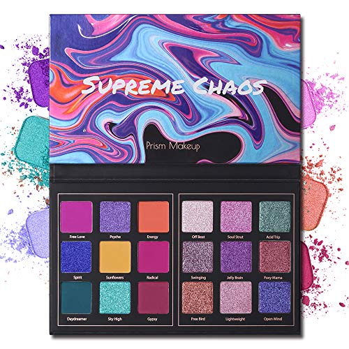 Prism Makeup - Matte Eyeshadow Palette Pro 18 Colors Highly Pigmented Shimmer Eye Shadow Palette Blendable Long Lasting Waterproof Makeup Cosmetics (03# Chaos)