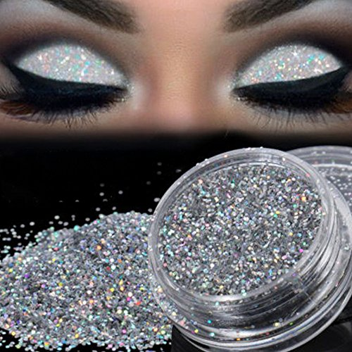 DMZing - Glitter Loose Makeup Eye Shadow Dust Powder, DMZing Shimmer Metallic Eyeshadow Silver Pigment Sparkly Party Cosmetic