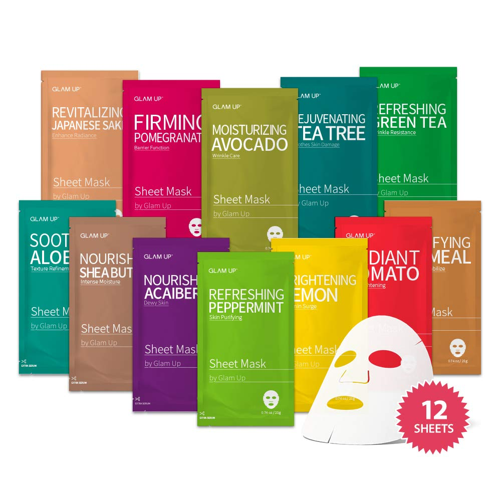 amazon.com - Sheet mask by Glam Up Facial Sheet Mask BTS 12Combo-The Ultimate Supreme Collection for Every Skin Condition Day to Day Skin Concerns. Nature made Freshly packed Original Korean Face Mask 12sheets