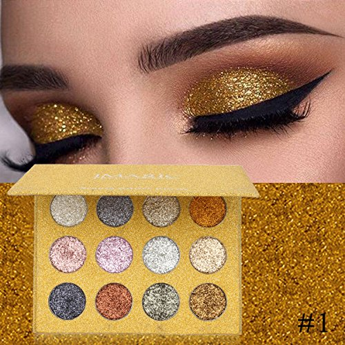 LUCKYFINE - 12 Colors Diamond Glitter Rainbow EyeShadow, LuckyFine Shimmer Powder MakeUp Palette Cosmetic Long Lasting Eye Shadow Palette Mineral Pressed Glitter 2
