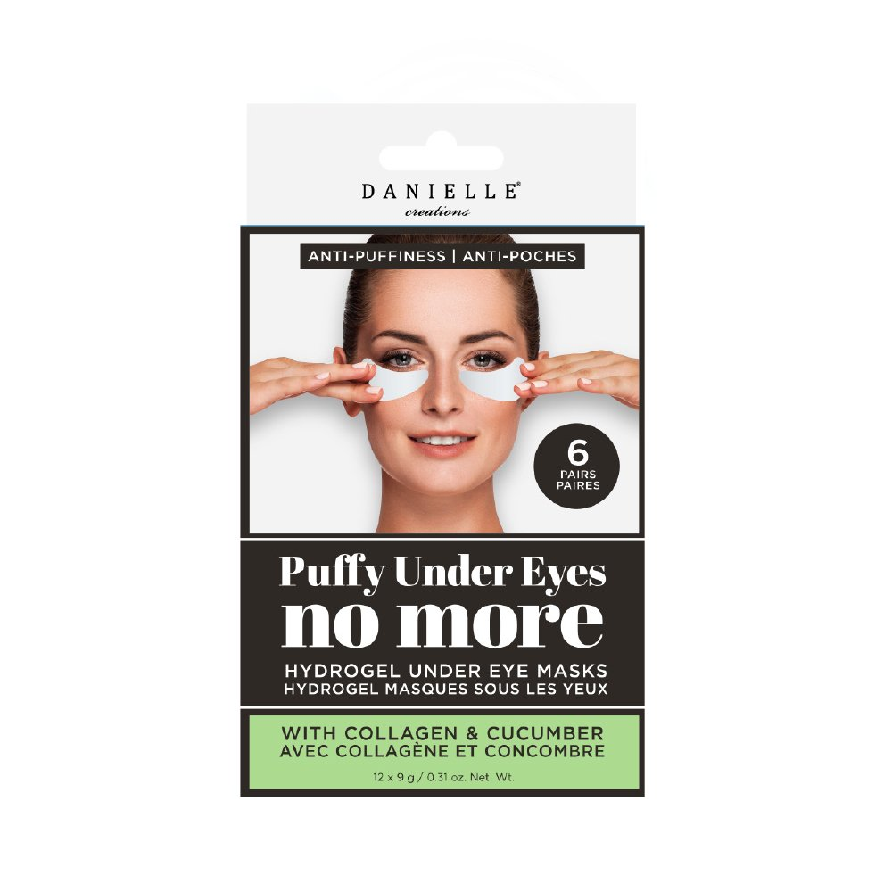 Upper Canada Soap - Danielle Puffiness No More Hydrogel Undereye Masks, 6 Pairs, Collagen & Cucumber, 6 Piece