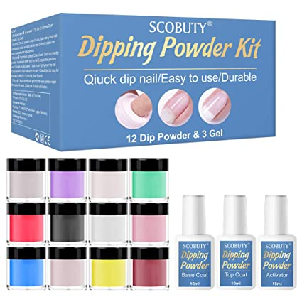 SCOBUTY - Dip Powder Nail Kit Starter,Dip Powder Nail Kit,Dipping Powder Kit,12 Dip Powders and Dip Powder Base&Top Activator Set,Suitable for Beginners and Nail Professionals