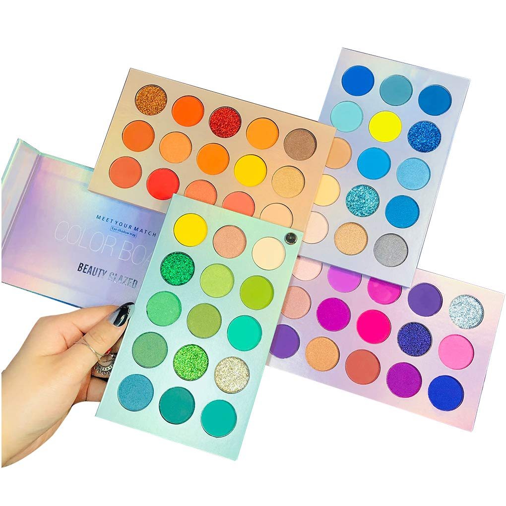 amazon.com - Beauty Glazed Highly Pigmented Eyeshadow Palette, Profession 60 Colors Makeup Palette Mattes Shimmers Naked Smokey Glitter Cream Colorful Powder Blendable Long Lasting Waterproof Eye Shadow Palette