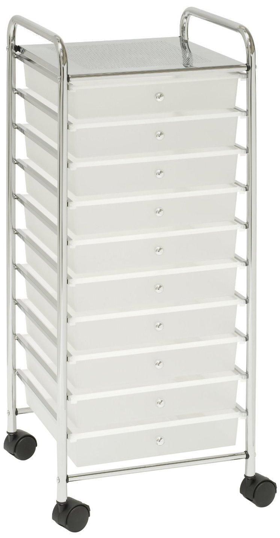 Seville Classics - Seville Classics Large 10-Drawer Organizer Cart, White