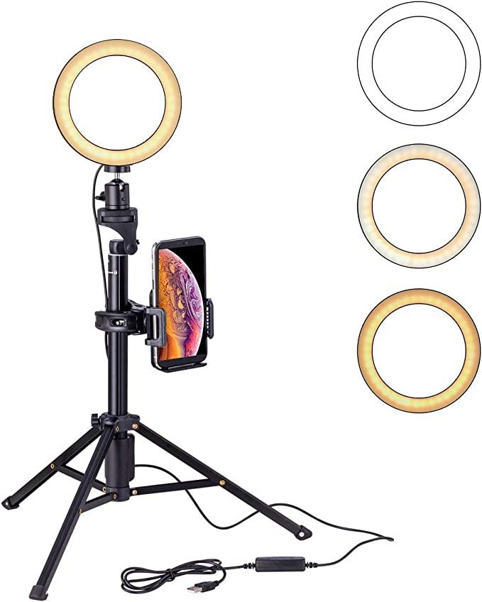 www.amazon.com.mx - Eocean 8 pulgadas Selfie Ring Light con trípode de 54 pulgadas para YouTube / Transmisión en vivo / maquillaje, Mini cámara de luz de anillo para Vlog / Video / Fotografía Compatible con iPhone Xs / Max / XR 8/7 Plus / X / Android