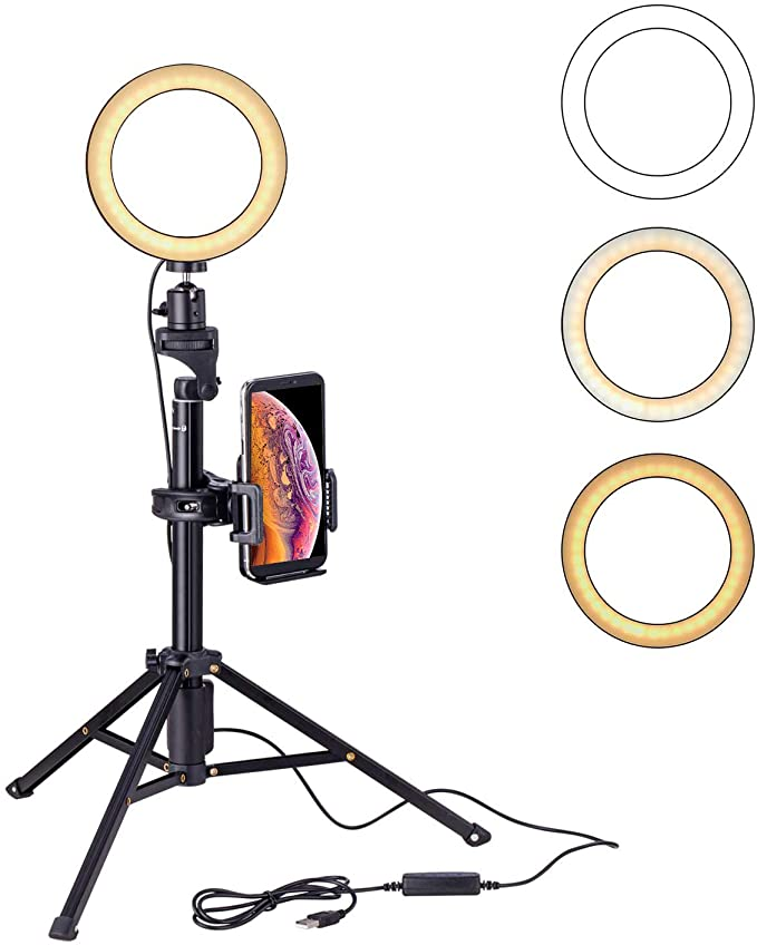www.amazon.com.mx - Eocean 8 pulgadas Selfie Ring Light con trípode de 54 pulgadas para YouTube / Transmisión en vivo / maquillaje, Mini cámara de luz de anillo para Vlog / Video / Fotografía Compatible con iPhone Xs / Max / XR 8/7 Plus / X / Android