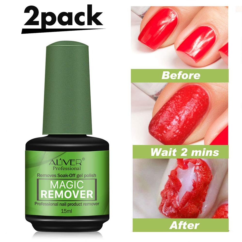 amazon.com - 2pcs Magic Nail Polish Remover Professional Soak-off Gel Polish Remover for Nail Art Lacquer in 3-5 Minutes Easily & Quickly, Don't Hurt Your Nails - 15 mls