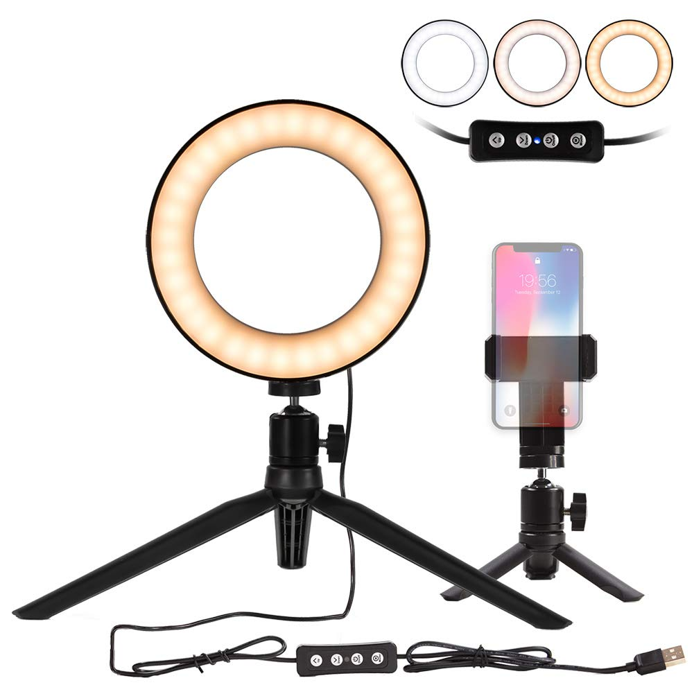 """amazon.com - Natwag 6"""" Selfie Ring Light with Tripod Stand & Cell Phone Holder for YouTube Video and Makeup,Live Stream,Portrait Photography.Mini LED Camera Light with 3 Light Modes & 11 Brightness Level"""