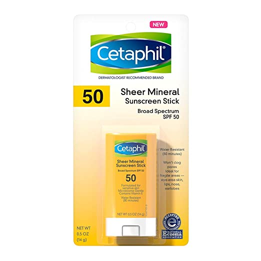 Cetaphil Cetaphil Sheer Mineral Sunscreen Stick for Face & Body -100% Mineral Sunscreen: Zinc Oxide & Titanium Dioxide With SPF 50 For Sensitive Skin, Unscented, 0.5 Oz