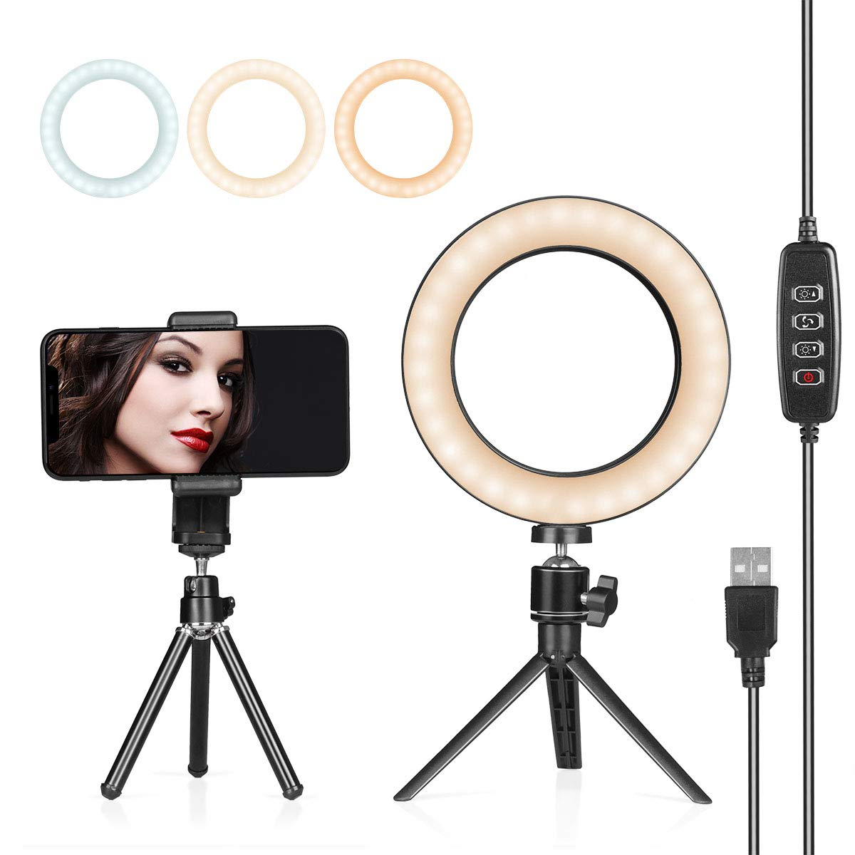 AIXPI - LED Ring Light with Tripod Stand, Desk Makeup Light with Cell Phone Holder 6 inch Dimmable 3 Light Modes & 10 Brightness for Streaming, YouTube Video Shooting, Photography Lighting