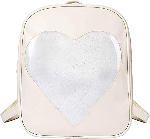 STEAMEDBUN - SteamedBun Ita Bag Heart Shaped Pin Backpack Candy PU Leather Kawaii Pins Bag
