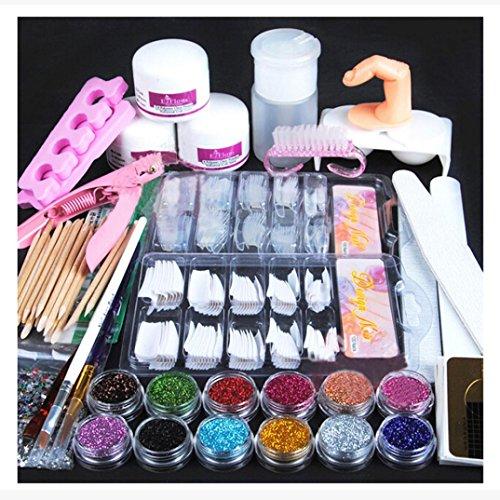 NewKelly - Acrylic Powder Glitter Nail Brush False Finger Pump Nail Art Tools Kit Set