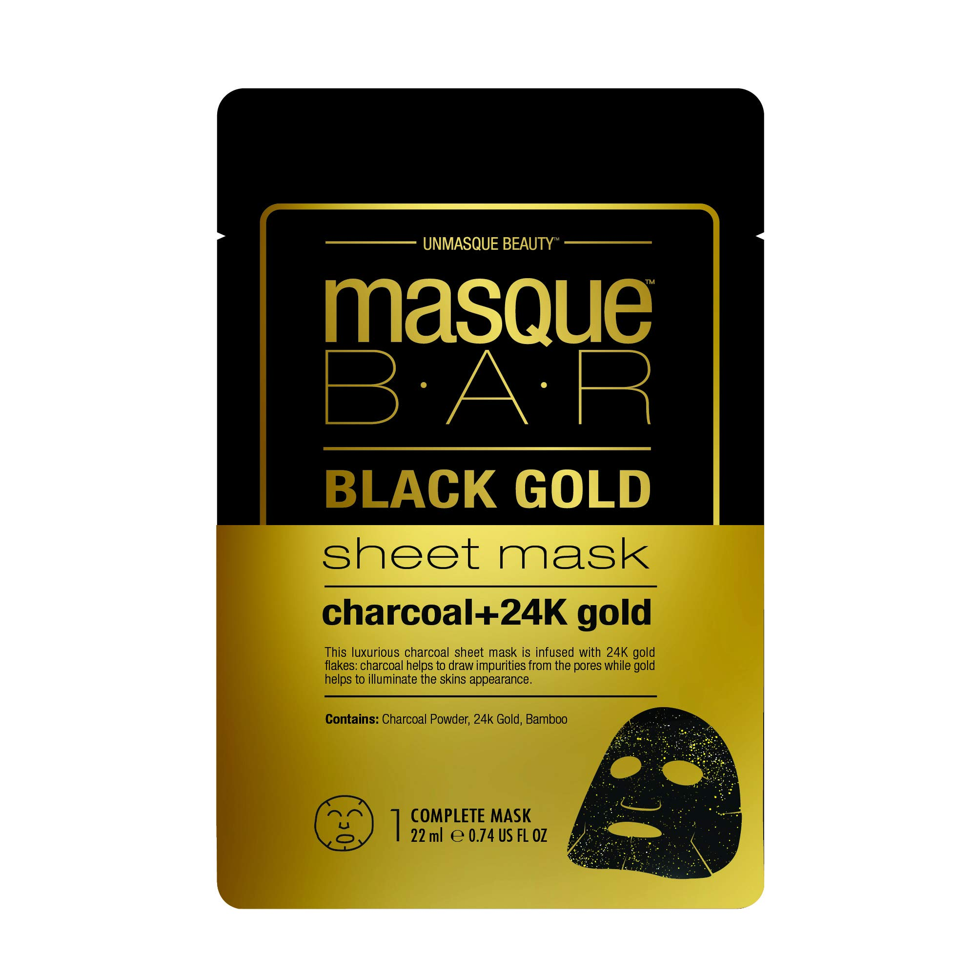 amazon.com - masque BAR Black Gold Sheet Mask with 24k Gold, Charcoal Powder, and Bamboo - Enriched Pore Refiner to Brighten Skin - Made in Korea