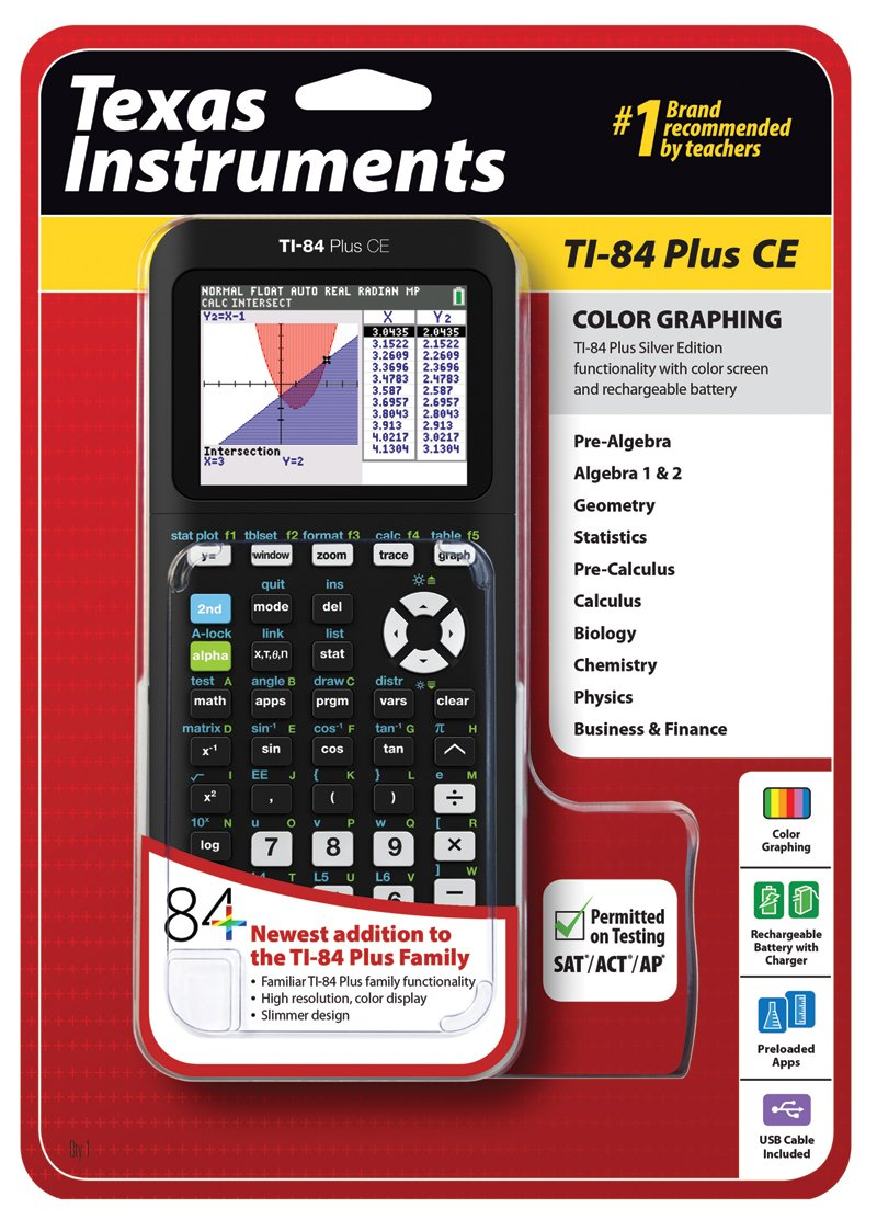 Texas Instruments - Texas Instruments TI-84 Plus CE Graphing Calculator, Black