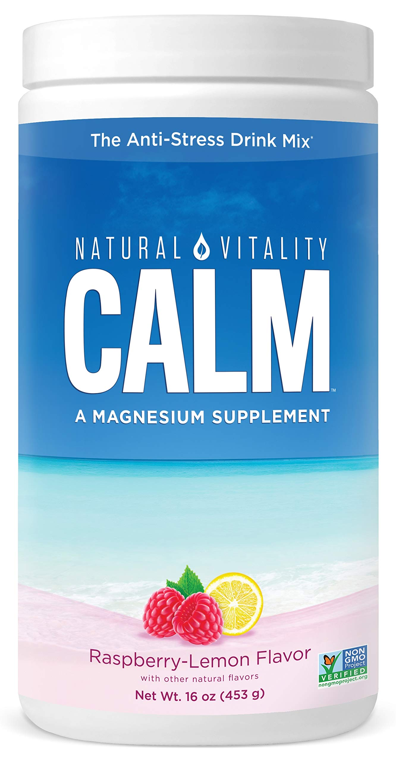 Natural Vitality - Natural Vitality Calm #1 Selling Magnesium Citrate Supplement, Anti-Stress Magnesium Supplement Drink Mix Powder- Raspberry Lemon, Vegan, Gluten Free and Non-GMO (Package May Vary), 16 oz 113 Servings