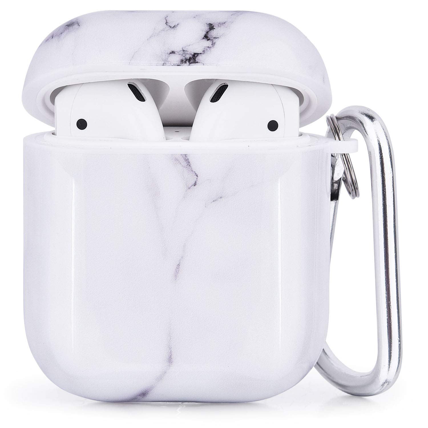 CAGOS - CAGOS Compatible with Airpods Case, 3 in 1 Cute Marble Accessories Protective Hard Case Cover Portable & Shockproof Women Girls Men with Keychain/Strap/Earhooks for Airpods 2/1 Charging Case - White