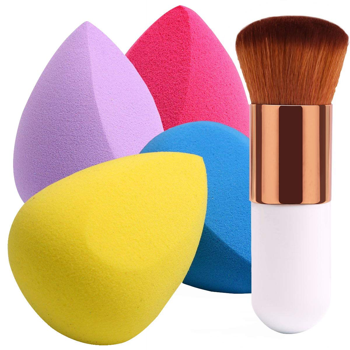 Beakey - BEAKEY 4+1Pcs Makeup Sponges with Powder Brush, Foundation Blending Sponge for Liquid Cream and Powder, Professional Beauty Sponge Blender & Kabuki Brush
