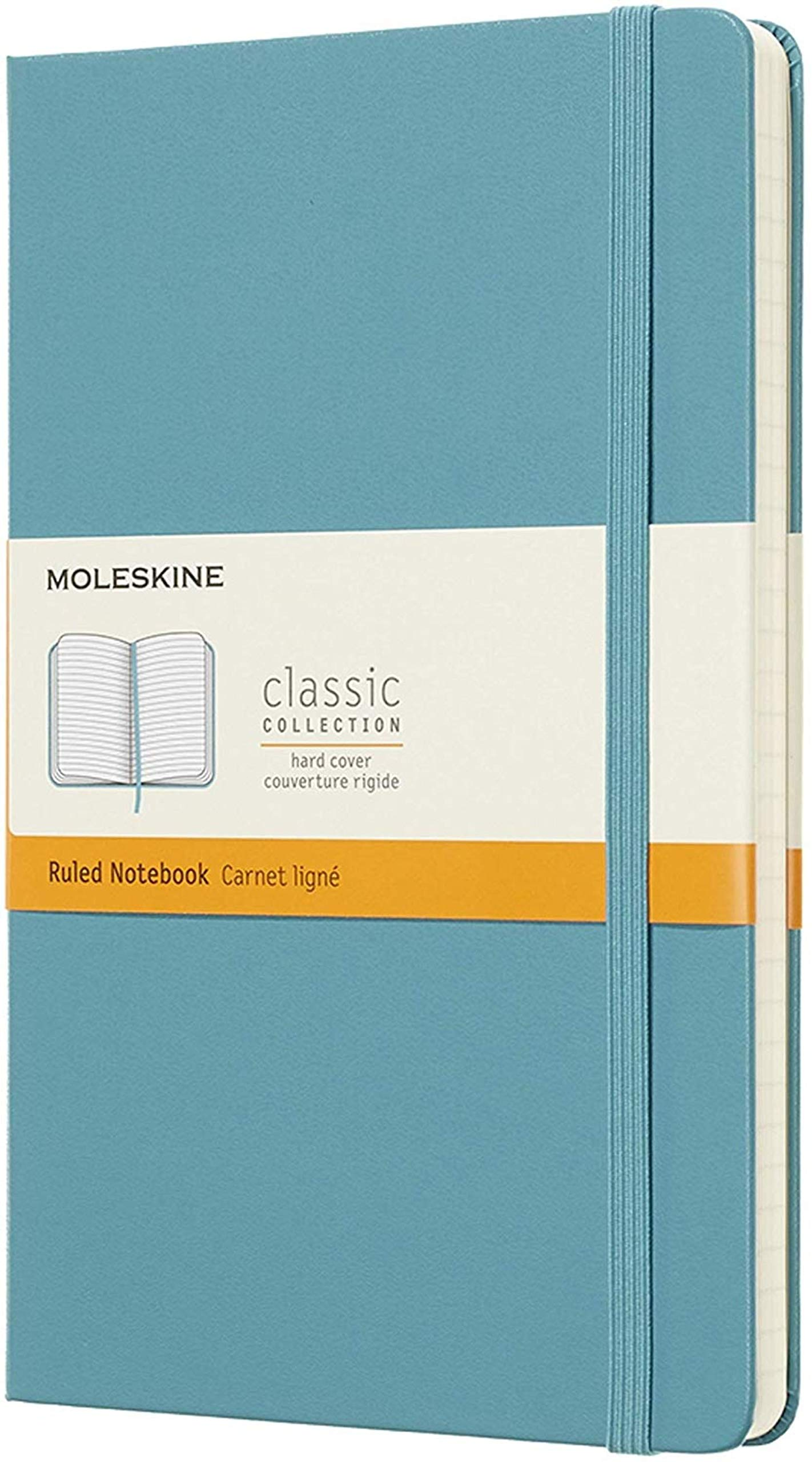 """Moleskine - Moleskine Classic Notebook, Hard Cover, Large (5"""" x 8.25"""") Ruled/Lined, Reef Blue, 240 Pages"""
