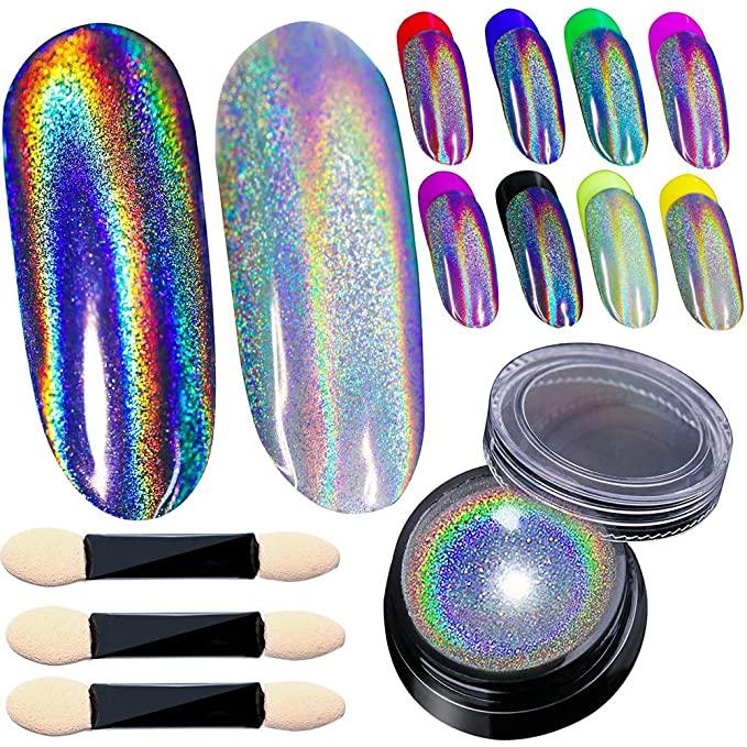 BELLEBOOST - Holographic Nail Powder Holo Powder for Nails Chrome Nail Powder Rainbow Unicorn Mirror Effect Glitter Dust Multi Manicure Pigment Nail Art DIY Deco with Sponge Tool/3pcs, 0.04oz/1g
