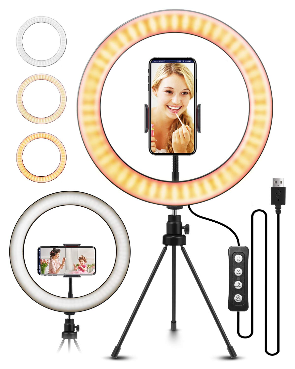 "ELEGIANT - 10.2"" Selfie Ring Light with Tripod Stand, ELEGIANT Ring Light with Cell Phone Holder 3 Light Modes & 11 Brightness Level and 160 Bulbs for YouTube Video Live Stream Makeup Photography"