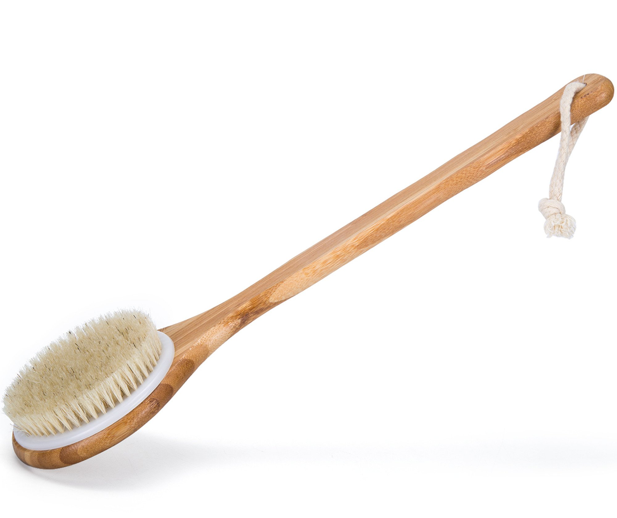 amazon.com - Janrely Bath Dry Body Brush Natural Bristles Back Scrubber With Long Wooden Handle For Cellulite And Exfoliating