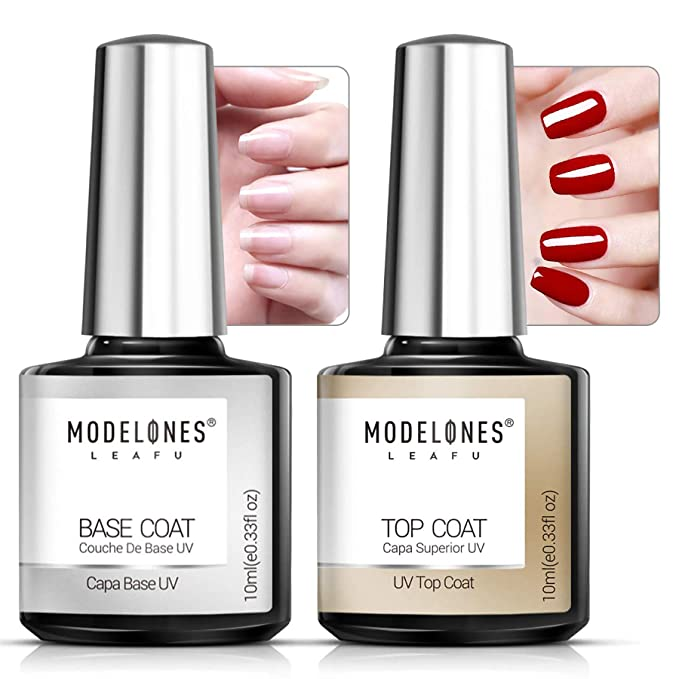 Modelones Modelones Gel Top and Base Coat, Gel Nail Polish No Wipe Top Coat Base Coat Set, 2x10ml LED Soak Off New Upgraded Formula Long-Lasting Gloss and Shiny Finish For Home DIY and Nail Salon