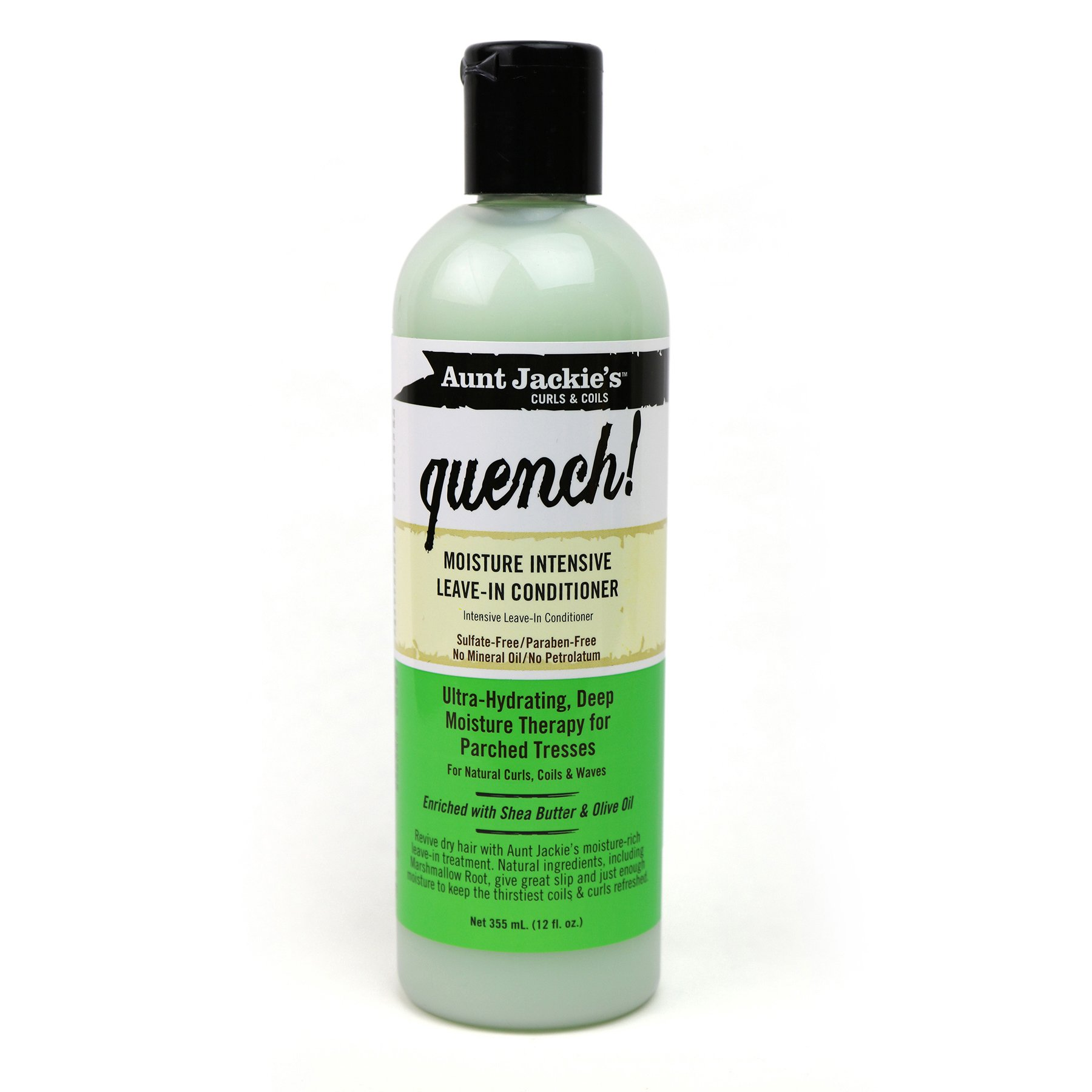 Aunt Jackie's Aunt Jackie's Quench, Moisture Intensive Leave-in Conditioner, Ultra-Hydrating, Deep Moisture Therapy for Parched Hair, 12 Ounce Bottle