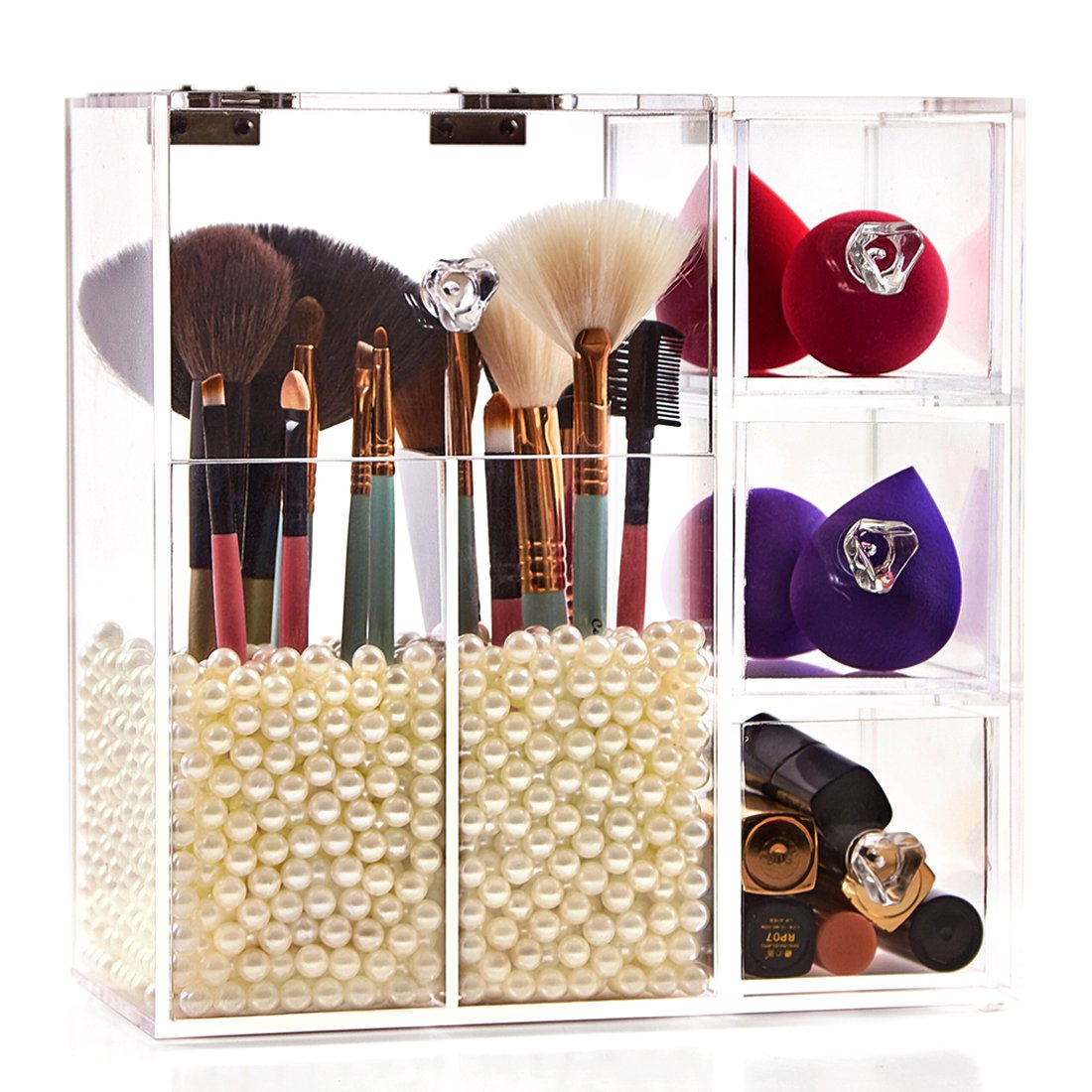 Newslly - Clear Acrylic Makeup Organizer with Brush Holders and Drawers